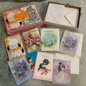 VINTAGE GIFT & THANK YOU CARDS UNUSED BOX OF 16
